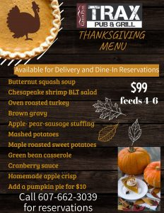 Thanksgiving at Greek Peak and Trax Call 607-662-3039