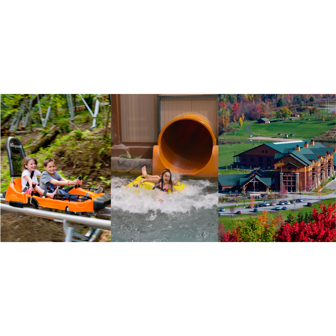 waterpark slide, lodge view and mountain coaster ride