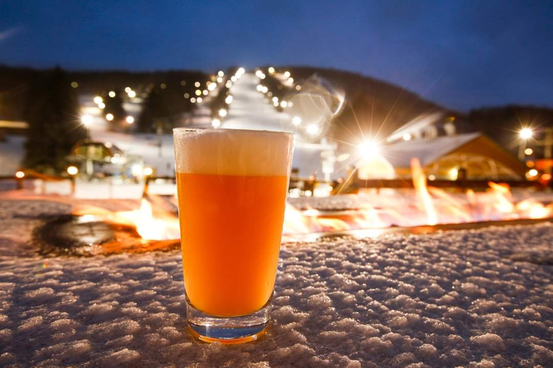 Craft Beers and a Winter Mountain view at Greek Peak