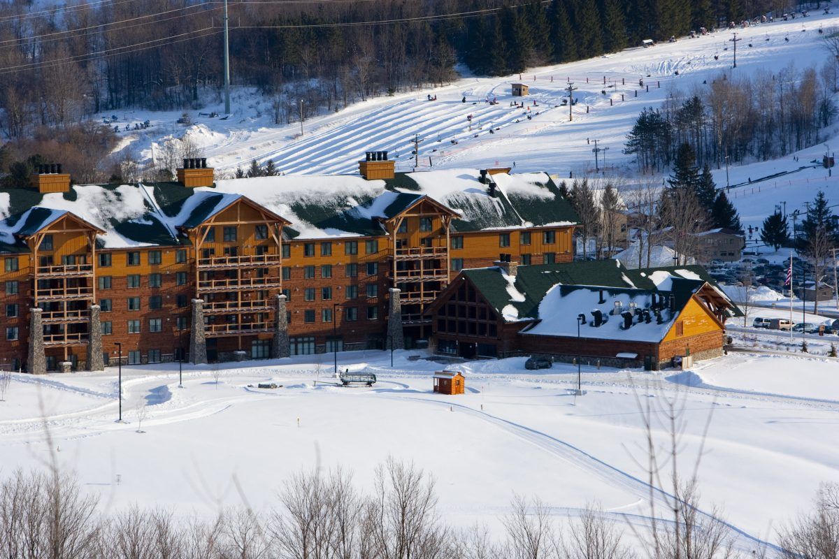 An aerial shot of Hope Lake Lodge in Winter
