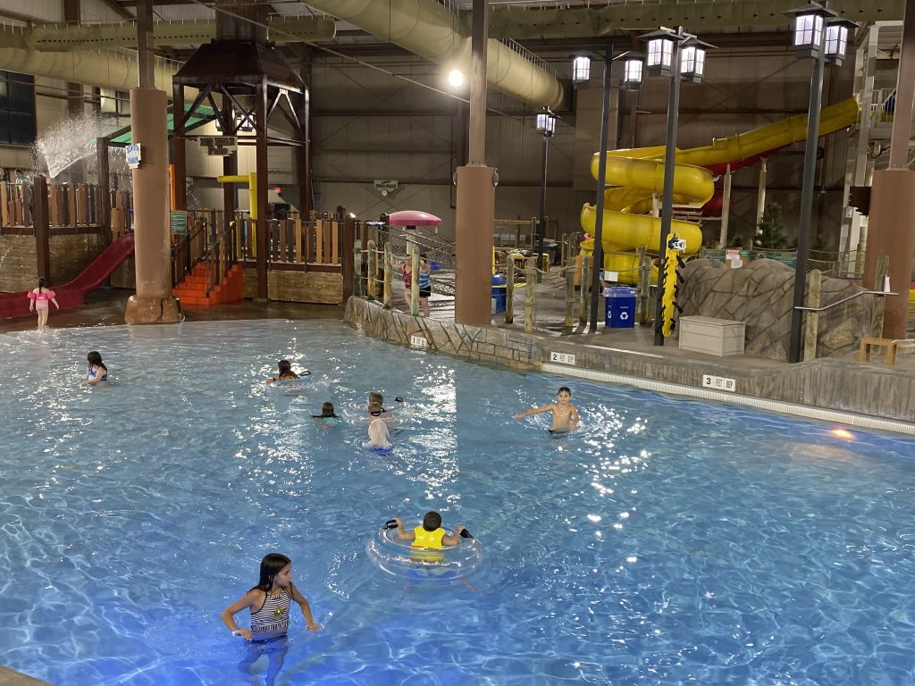 A birds-eye view of the Indoor Waterpark and the Wave Pool
