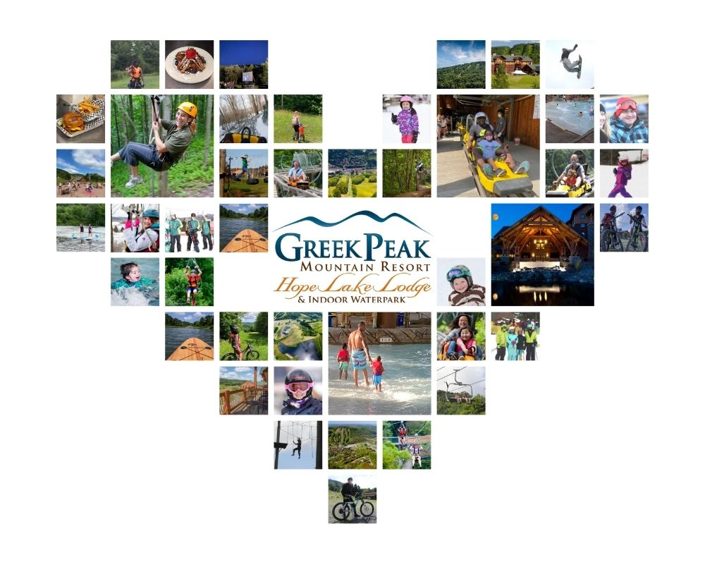Greek Peak - Digital Collage of Highlights from the Season at the the Resort. Various images - skiing, mountain biking, resort shots, and smiling faces.
