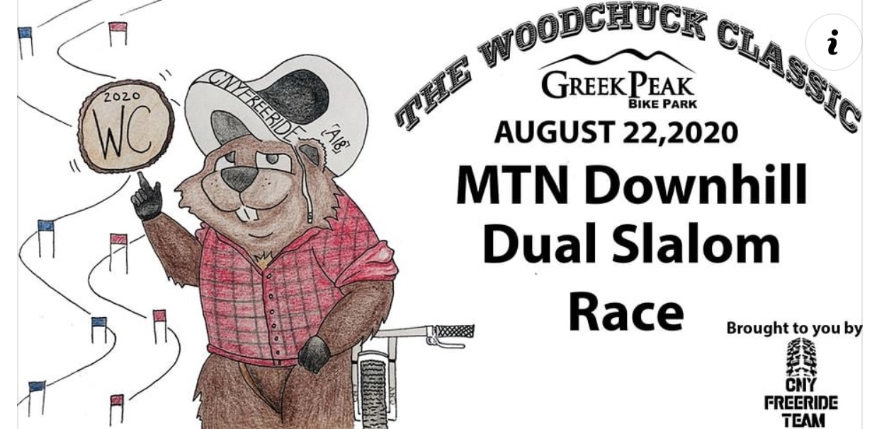 Woodchuck Classic Downhill Slalom August 22, 2020 - hand drawn woodchuck in a flannel shirt next to a mountain bike