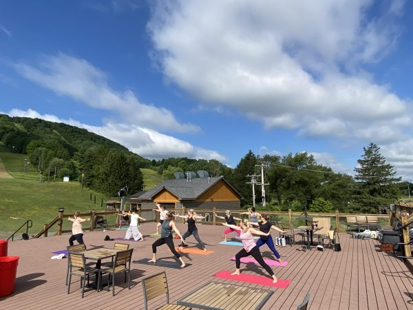 Yoga Classes on the deck at Trax Pub and Grill