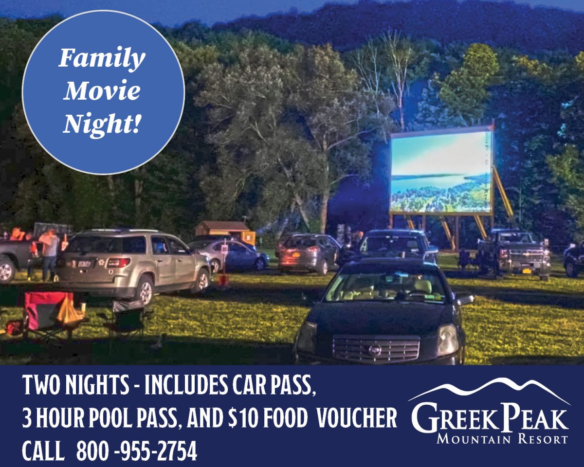 Family Movie Night at Greek Peak Mountain Resort with picture of drive-in Call 800 955-2754 for details