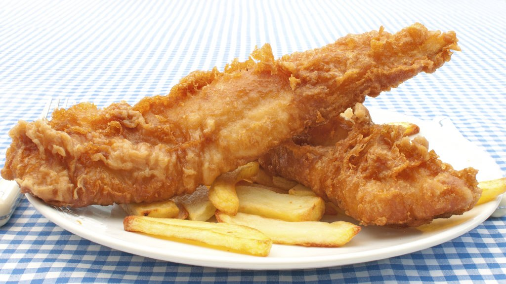 Fish Fry - plate with fried fish and french fries.