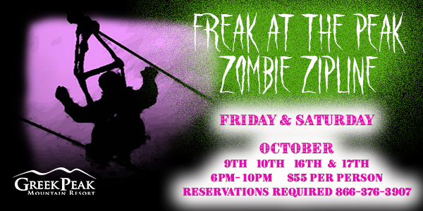 Freak at the Peak - Zombie Zipline Tours - Friday and Saturday, October 9, 10, 16, & 17, 6-10PM, $55, Call 866-376-3907