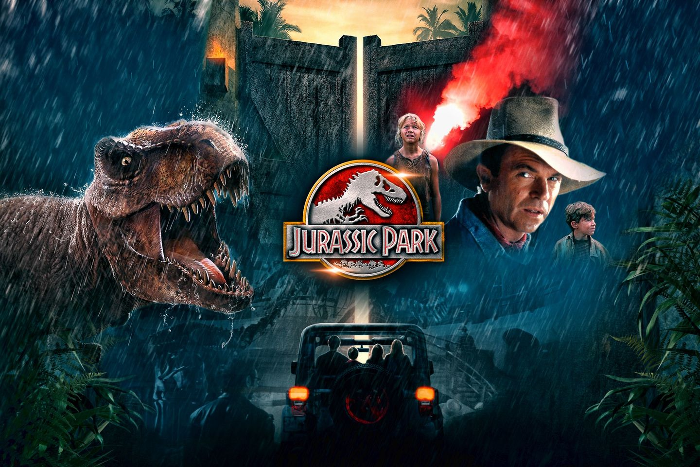 Movie Poster for Jurassic Park featuring dinosaurs and the main characters