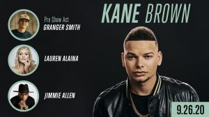 Kane Brown concert poster. Portrait of 3 men and 1 woman