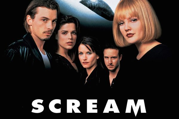 Scream the Movie - Movie Poster featuring the cast with an eye in the background