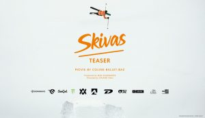 Skivas Movie Poster - Featuring image of skier in orange and verbiage for the movie.