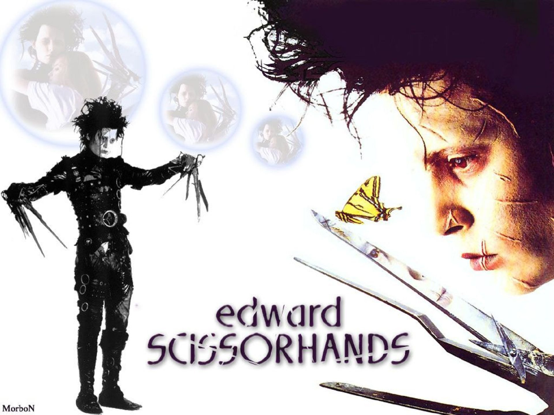 Edward Scissorhands - with two images of actor - one standing and one profile view with a butterfly in his scissorhands
