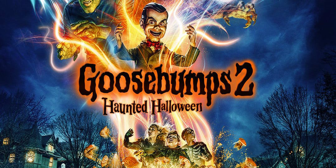Goosebumps 2 Haunted Halloween Movie Poster with characters from movie surrounded by swirls of light