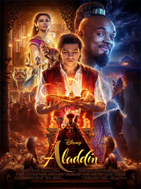 A young man holds a glowing magic lamp while a genie and a princess and a tiger stand in the background