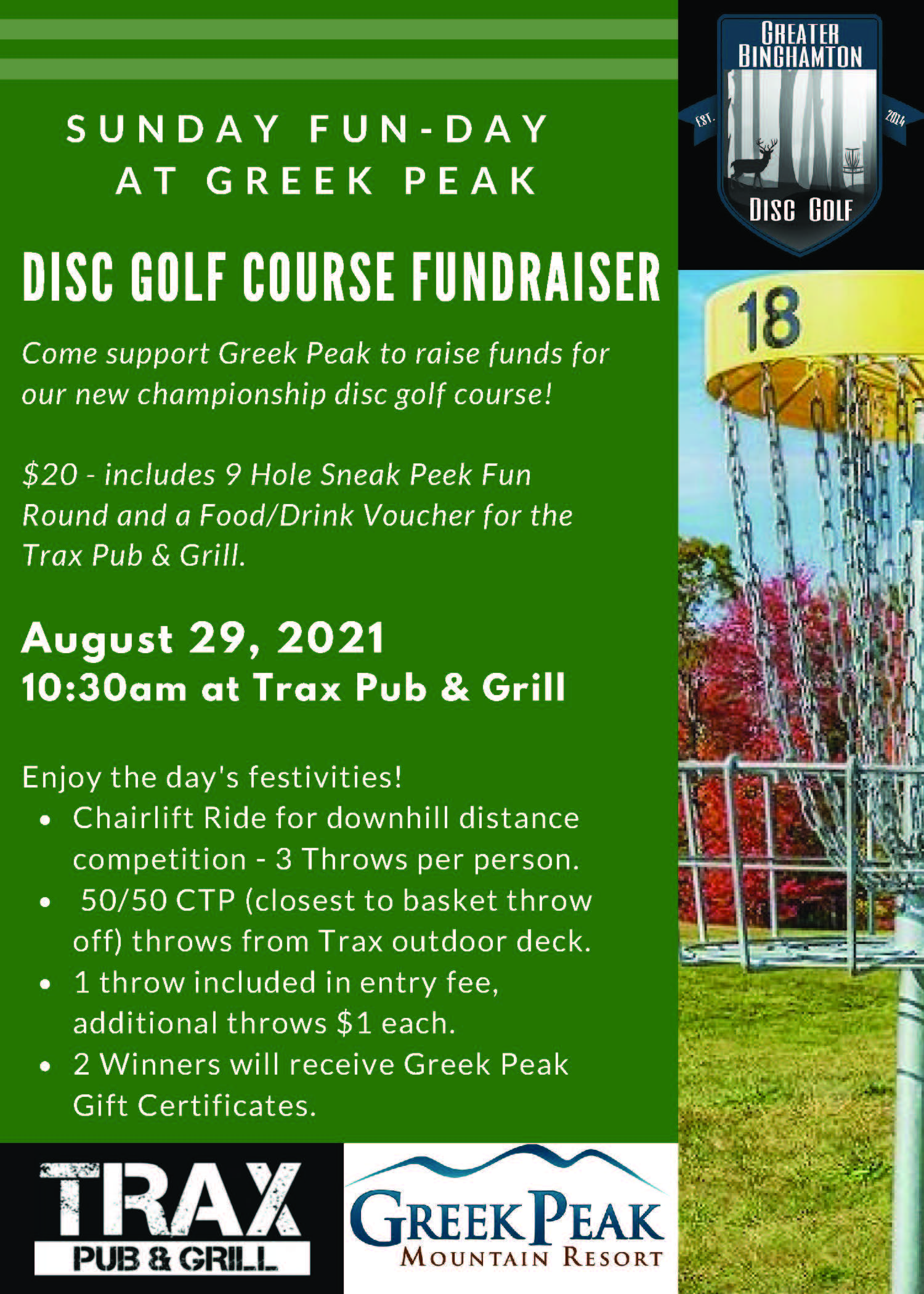 flyer for a disc golf fundraiser that Greek Peak is having on Sunday, August 29th at 10:30am for $20 you get to play 9 holes and receive a food/drink voucher for Trax Pub & Grill