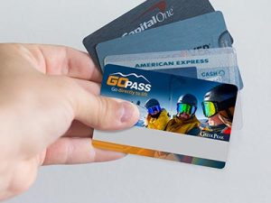 Hand holding GoPass and Credit Cards fanned out