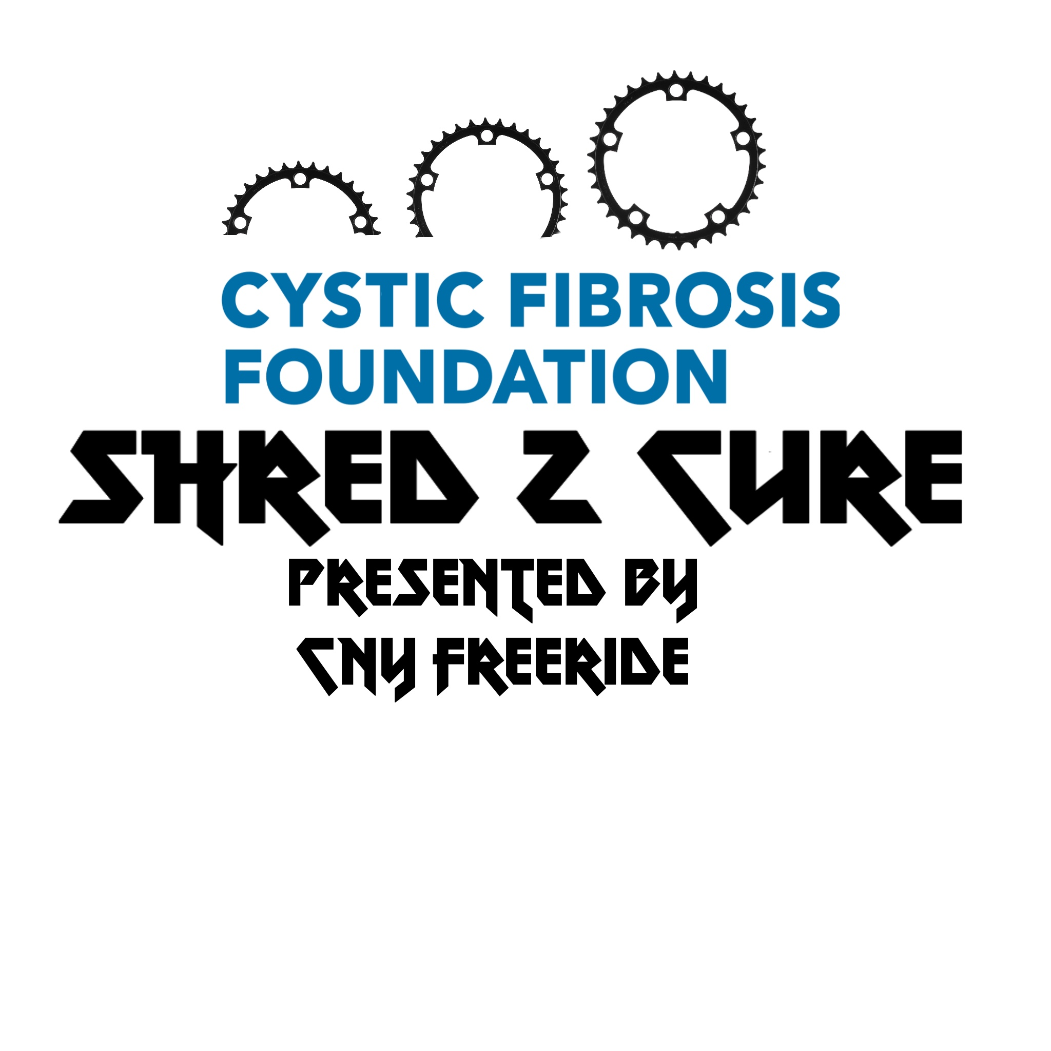 Text that says Cystic fibrosis shred 2 cure presented by cny freeride